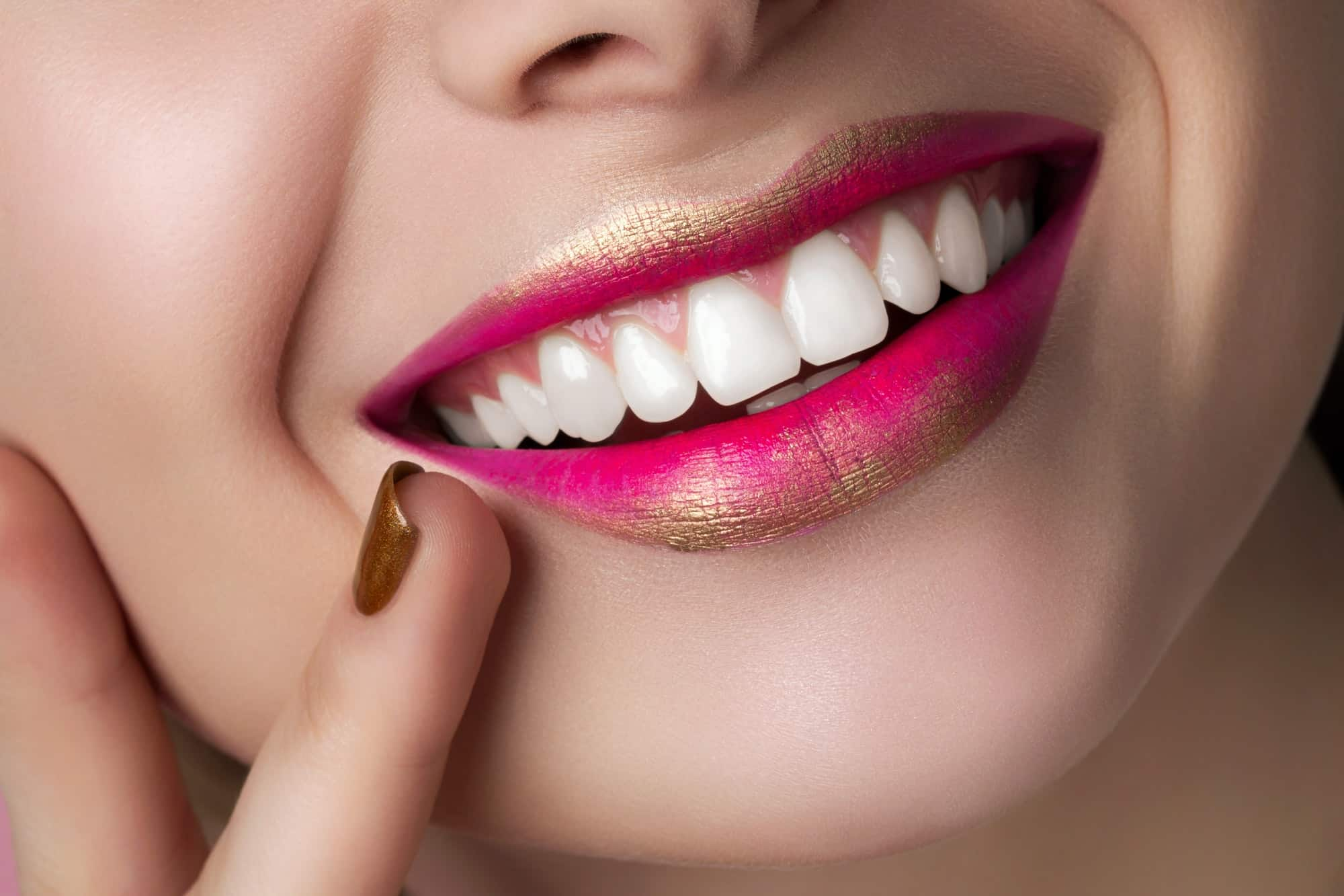 Close up view of beautiful smiling woman lips